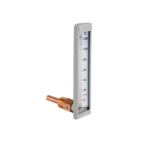 Termómetro de capilla de 100 mm. conexión angular