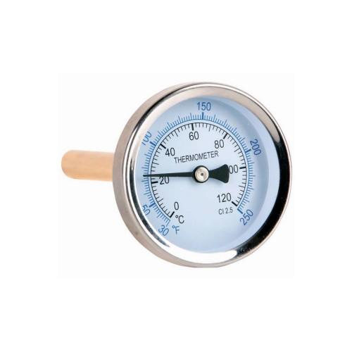 Termómetro de Ø 63 mm. con vaina de latón (posterior)